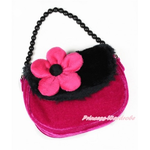 Black Hot Pink Soft Fur Little Cute Handbag Petti Bag Purse CB140