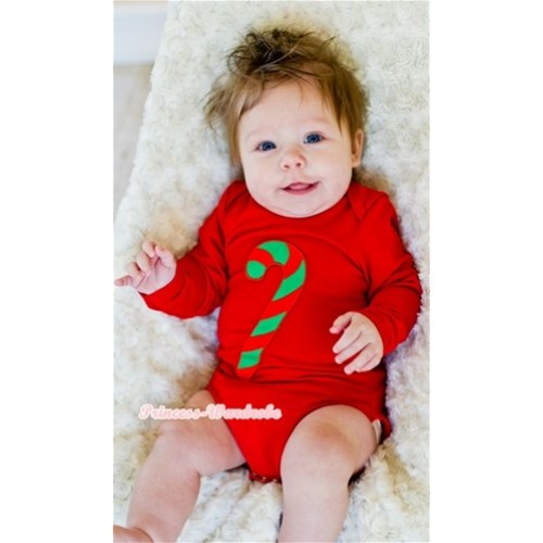 Hot Red Long Sleeve Baby Jumpsuit with Christmas Stick Print LS208