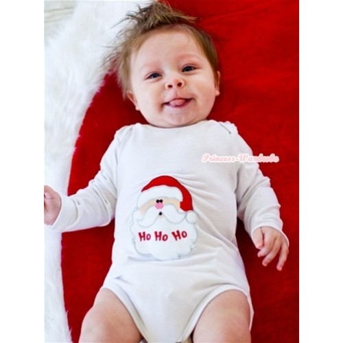 White Long Sleeve Baby Jumpsuit with Santa Claus Print LS210
