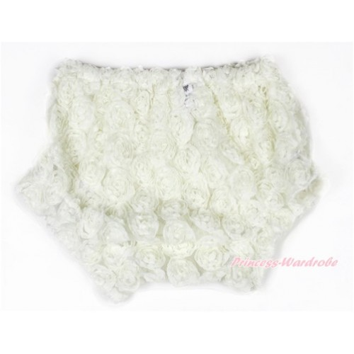 Cream White Romantic Rose Panties Bloomers BR45