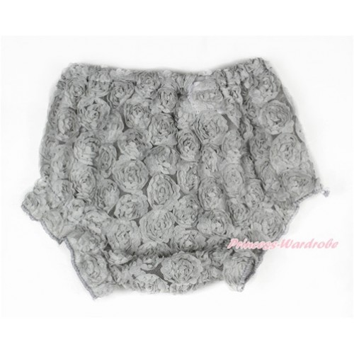 Grey Romantic Rose Panties Bloomers BR49