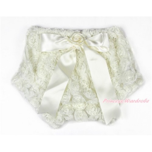 Cream White Romantic Rose Panties Bloomers With Cream White Bow BR46