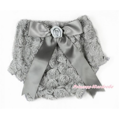 Grey Romantic Rose Panties Bloomers With Grey Bow BR50