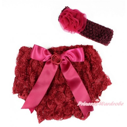 Raspberry Wine Red Romantic Rose Panties Bloomers With Raspberry Wine Red Bow & Raspberry Wine Red Headband Raspberry Wine Red Rosettes BA04