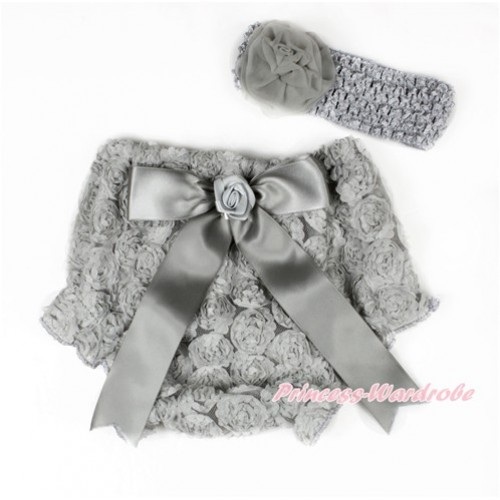 Grey Romantic Rose Panties Bloomers With Grey Bow & Grey Headband Grey Rosettes BA05