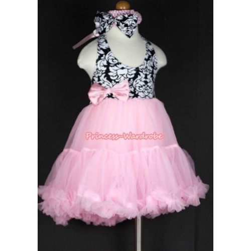 Light Pink Damask with ONE-PIECE Petti Dress &Light Pink Headband Damask Satin Bow LP14