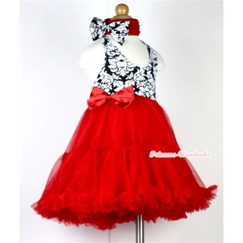 Red Damask with ONE-PIECE Petti Dress with Red Satin Bow with Red Headband Damask Satin Bow LP16