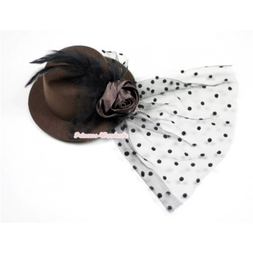 Black Feather and Polka Dots net Brown Hat Clip with Brown Rose H521