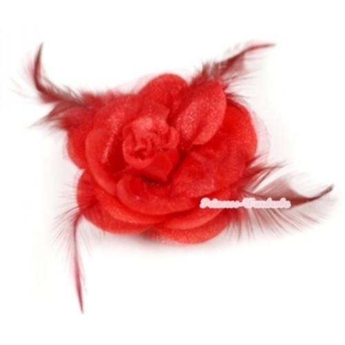 Red Rosettes Feather Hair Clip H524