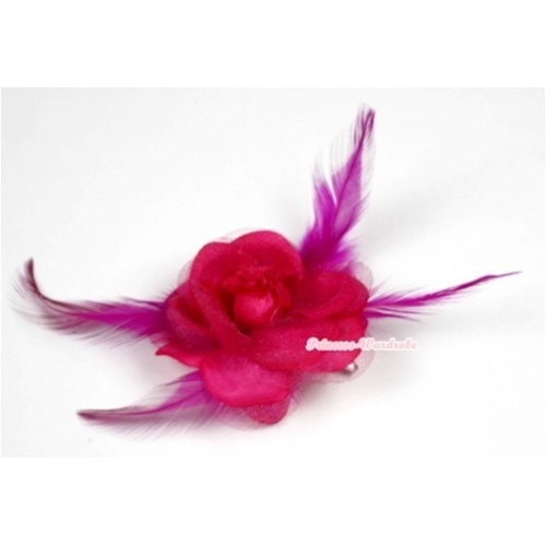 Hot Pink Rosettes Feather Hair Clip H525