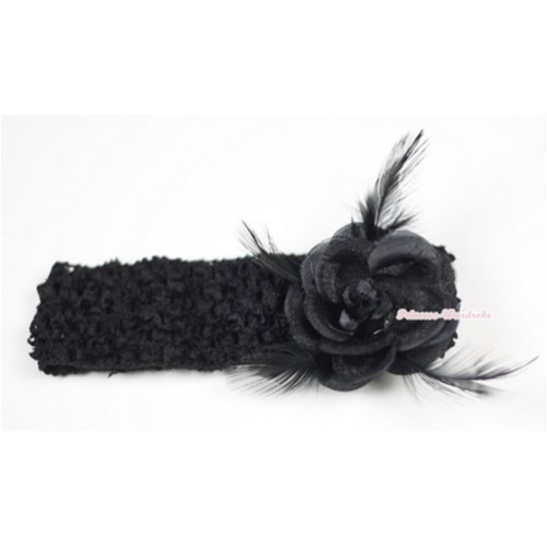 Black Headband with Black Rosettes Feather Hair Clip H530