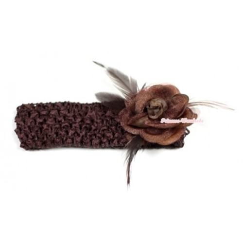 Brown Headband with Brown Rosettes Feather Hair Clip H534