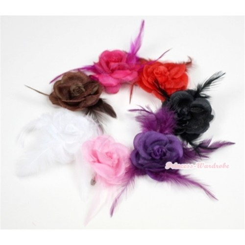 LOT 7 Rosettes Feather Hair Clip H541