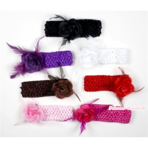 Lot 7 Headband With Rosettes Feather Hair Clip H543