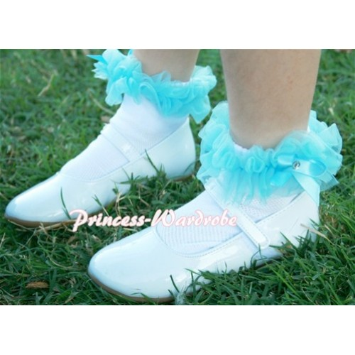 Plain Style Pure White Socks with Light Blue Ruffles and Bow H182