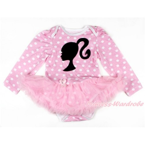 Light Pink White Dots Long Sleeve Baby Bodysuit Jumpsuit Light Pink Pettiskirt With Barbie Princess Print JS2615