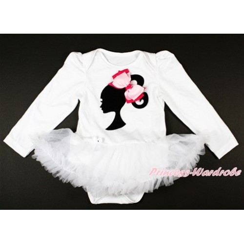 White Long Sleeve Baby Bodysuit Jumpsuit White Pettiskirt With Barbie Princess Print & Light Hot Pink Ribbon Bow JS2654