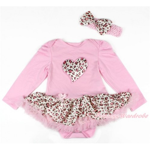 Light Pink Long Sleeve Baby Bodysuit Jumpsuit Light Pink Leopard Pettiskirt With Light Pink Leopard Heart Print & Light Pink Headband Light Pink Leopard Satin Bow JS2686