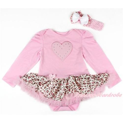 Light Pink Long Sleeve Baby Bodysuit Jumpsuit Light Pink Leopard Pettiskirt With Light Pink Heart Print & Light Pink Headband White Light Pink Leopard Ribbon Bow JS2688