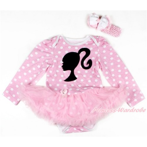 Light Pink White Dots Long Sleeve Baby Bodysuit Jumpsuit Light Pink Pettiskirt With Barbie Princess Print & Light Pink Headband White Light Pink White Dots Ribbon Bow JS2701