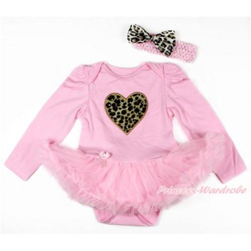 Light Pink Long Sleeve Baby Bodysuit Jumpsuit Light Pink Pettiskirt With Leopard Heart Print & Light Pink Headband Leopard Satin Bow JS2728