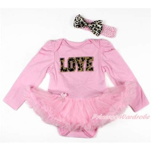 Light Pink Long Sleeve Baby Bodysuit Jumpsuit Light Pink Pettiskirt With Leopard LOVE Print & Light Pink Headband Leopard Satin Bow JS2729