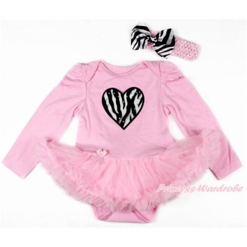 Light Pink Long Sleeve Baby Bodysuit Jumpsuit Light Pink Pettiskirt With Zebra Heart Print & Light Pink Headband Zebra Satin Bow JS2731