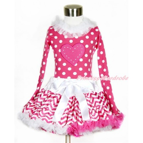 Hot Pink White Dots Long Sleeves Top with White Lacing with Hot Pink Heart Print With Hot Pink White Wave Pettiskirt MW420