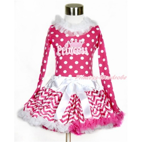 Hot Pink White Dots Long Sleeves Top with White Lacing with Princess Print With Hot Pink White Wave Pettiskirt MW422