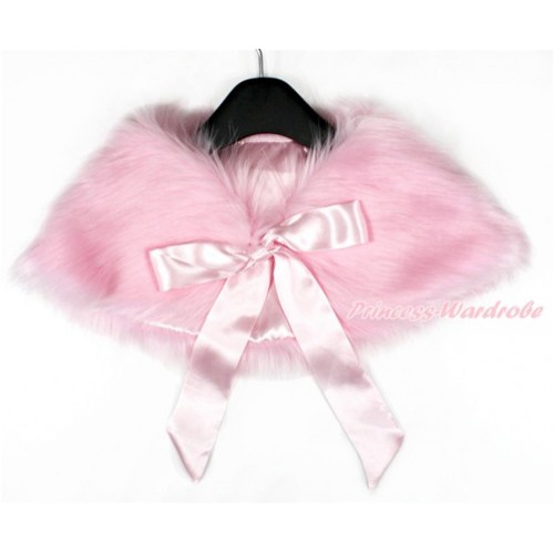Light Pink Ribbon with Light Pink Soft Fur Stole Shawl Shrug Wrap Cape Wedding Flower Girl Shawl Coat SH41