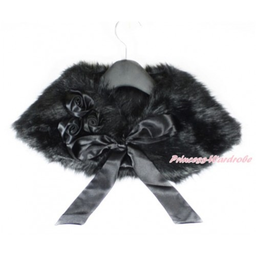 Black Rosettes & Black Ribbon with Black Soft Fur Stole Shawl Shrug Wrap Cape Wedding Flower Girl Shawl Coat SH45