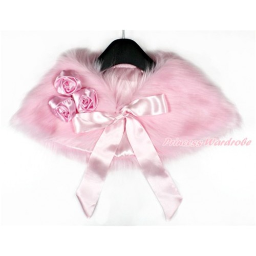 Light Pink Rosettes & Light Pink Ribbon with Light Pink Soft Fur Stole Shawl Shrug Wrap Cape Wedding Flower Girl Shawl Coat SH46