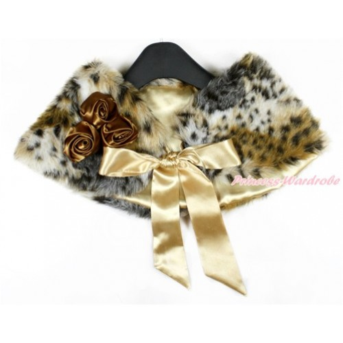Brown Rosettes & Goldenrod Ribbon with Leopard Soft Fur Stole Shawl Shrug Wrap Cape Wedding Flower Girl Shawl Coat SH49