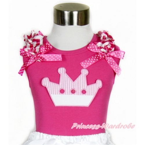 Hot Pink Tank Top With Hot Pink White Wave Ruffles & Hot Pink White Dots Bow With Crown Print TM245