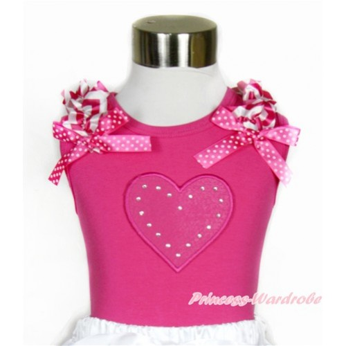 Hot Pink Tank Top With Hot Pink White Wave Ruffles & Hot Pink White Dots Bow With Hot Pink Heart Print TM246
