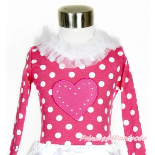 Hot Pink White Dots Long Sleeves Top with White Lacing With Hot Pink Heart Print T546