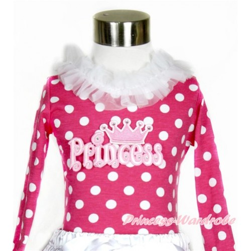 Hot Pink White Dots Long Sleeves Top with White Lacing With Princess Print T548