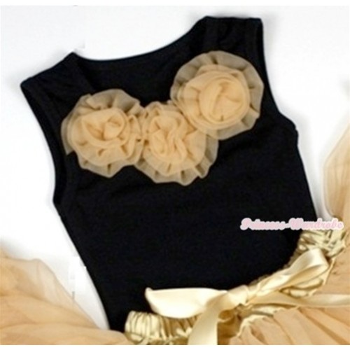 Black Baby Pettitop with Goldenrod Rosettes NT152