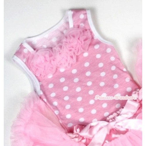 Light Pink White Dots Baby Pettitop with Light Pink Rosettes NT155
