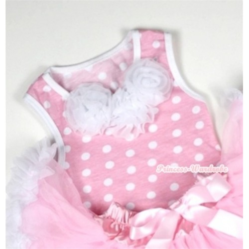 Light Pink White Dots Baby Pettitop with White Rosettes NT156