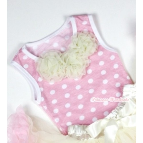 Light Pink White Dots Baby Pettitop with Cream White Rosettes NT157
