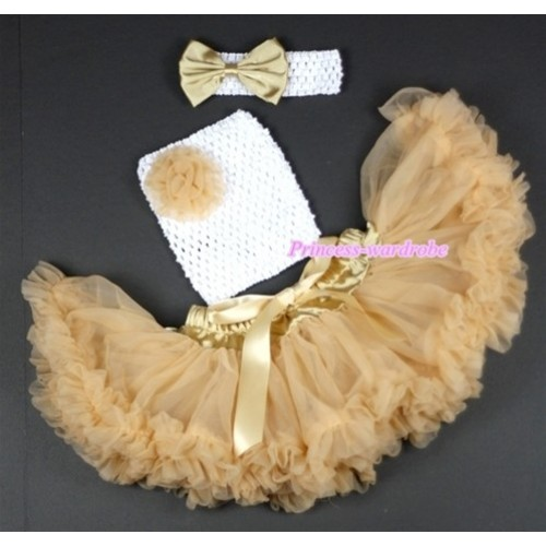 Goldenrod Baby Pettiskirt,Goldenrod Rose and White Crochet Tube Top,White Headband Goldenrod Satin Bow 3PC Set CT495