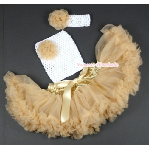 Goldenrod Baby Pettiskirt,Goldenrod Rose and White Crochet Tube Top,White Headband Goldenrod Rose 3PC Set CT496