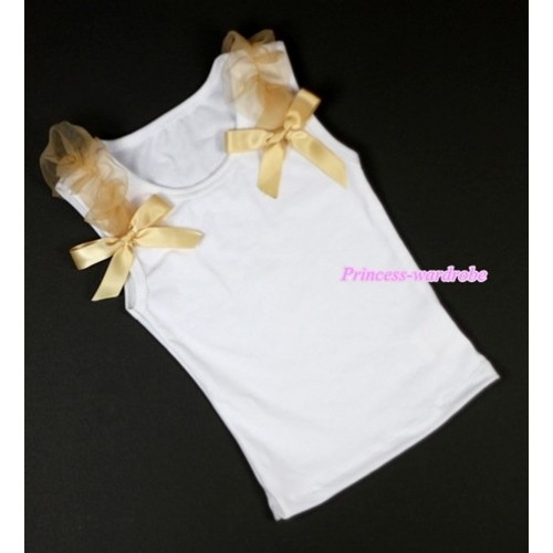 White Tank Top with Goldenrod Ruffles and Goldenrod Bow T472