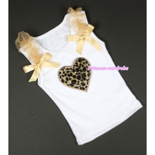 Leopard Heart Print White Tank Top with Goldenrod Ruffles &Goldenrod Bows TB210