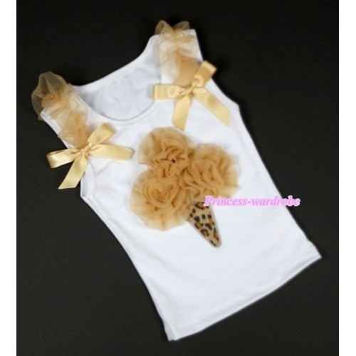 Goldenrod Rosettes Leopard Ice Cream Print White Tank Top with Goldenrod Ruffles &Goldenrod Bows TB212