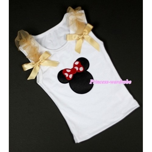 Minnie Print White Tank Top with Goldenrod Ruffles &Goldenrod Bows TB213