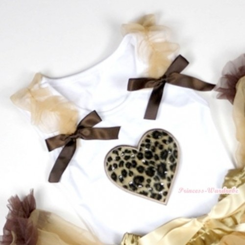 Leopard Heart Print White Tank Top with Goldenrod Ruffles &Brown Bows TB214