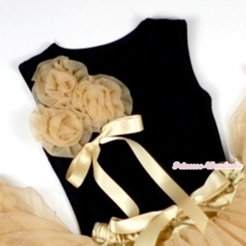 Black Tank Top with Bunch of Goldenrod Rosettes& Goldenrod Bow TB226