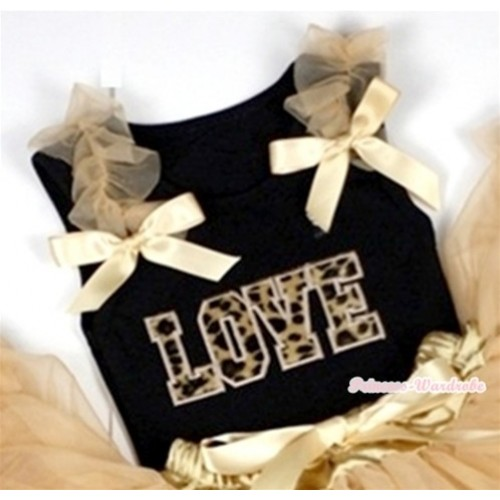 Leopard Love Print Black Tank Top with Goldenrod Ruffles &Goldenrod Bows TB227